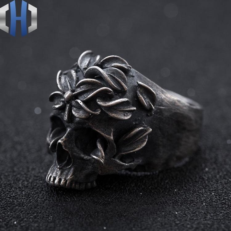 Schädel Ring S925 Sterling Silber Lokomotive Rock Dark Side Blume Runde Zurück Schädel Hand made Ring Ring - 4