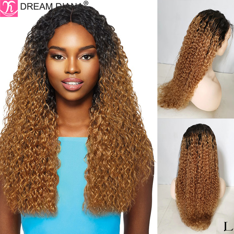 DreamDiana Malaysian Curly Wig Ombre Front Lace Wigs 150 Density Remy Human Hair Wig 13x4 Pre Plucked Human Hair Wigs Low Retio