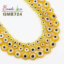 Wholesale Yellow Round Flat Evil Eye Lampwork Glazed Glass Loose Spacer Beads for Bracelet DIY Jewelry Making 6 8 10 mm 15 Inch