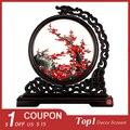 Panda tela redonda artesanato chinês bordado dupla face bordado decoração bela flor de seda padrão de pássaro cênico
