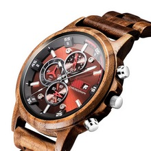 Wooden Watch Date Display Casual Men Luxury Wood Chronograph