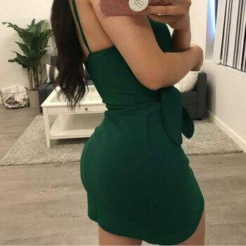 Sexy Green Cami Dress Women Spaghetti Strap Sleeveless Sexy Club Party Mini Dress Deep V Neck Strapless Dress  Summer Bow Dress 2