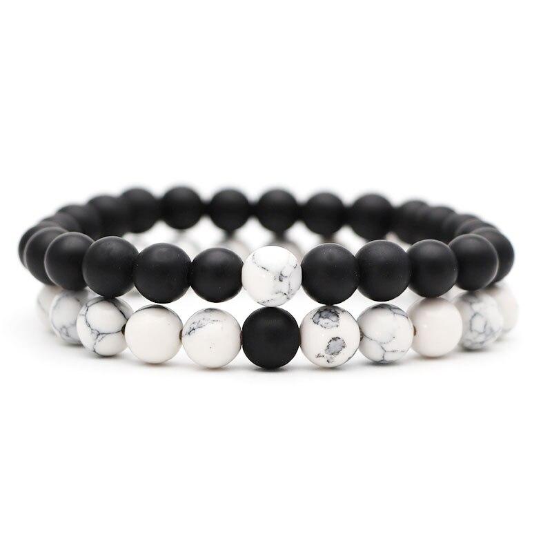 2 шт./компл. Для мужчин браслет классический Натуральный камень пары расстояние бело-черные Инь бисером Браслеты для Для женщин Best Friend» - Окраска металла: 1