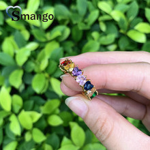 5pcs,Women Rings, Fashion Jewelry, Hearts Shape Design , The Rainbow Series,Gold Color Plated Can Wholesale