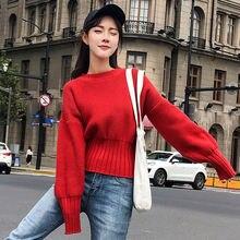 Новый короткие свитера пуловеры женщина осень и зима 2019 свободные