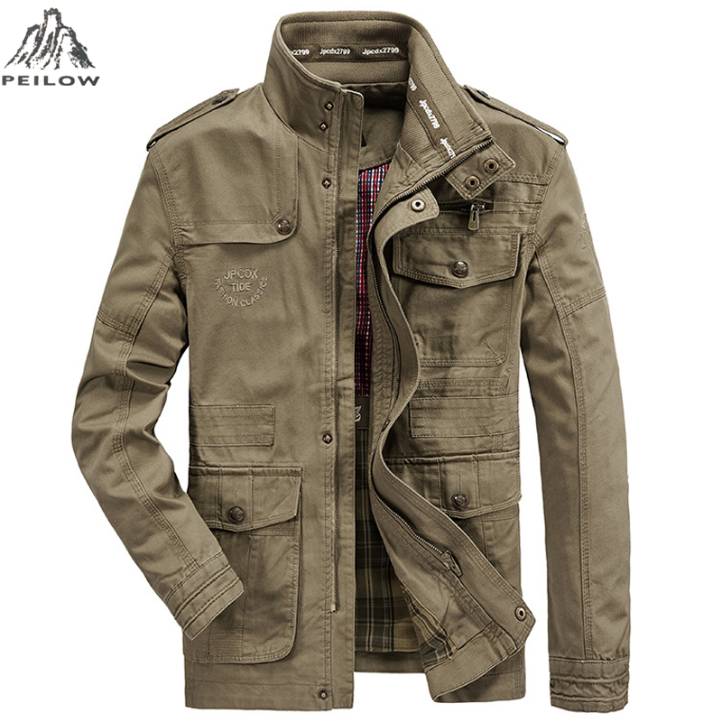 Men's Windbreakers Multi-pocket Army Military Cotton Bomber Jackets Slim For Men Streetwear Trench Parka Coats Brand Clothing