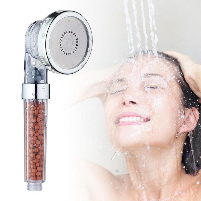 Bath Shower Adjustable 3 Modes Jetting Shower Head High Pressure Saving Water Bathroom Anion Filter SPA Shower Pressurized Showe