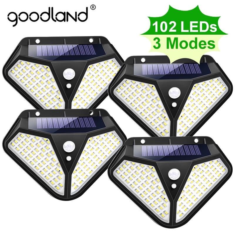 Goodland 102 100 LED Solar Light Outdoor Solar Lamp Powered Sunlight 3 Modes PIR Motion Sensor for Garden Decoration Wall Street 1