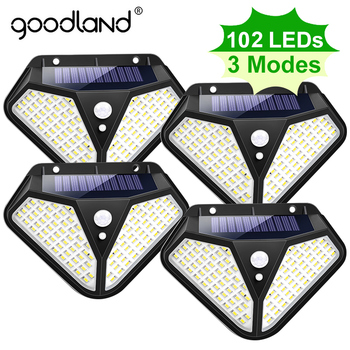 Goodland 102 100 LED Solar Light Outdoor Solar Lamp Powered Sunlight 3 Modes PIR Motion Sensor for Garden Decoration Wall Street 1