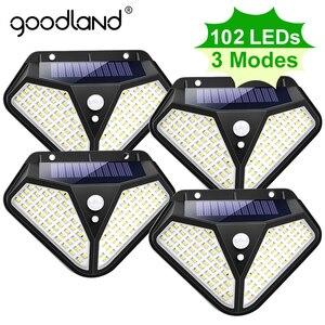 Goodland 102 100 LED Solar Light Outdoor Solar Lamp Powered Sunlight 3 Modes PIR Motion Sensor for Garden Decoration Wall Street