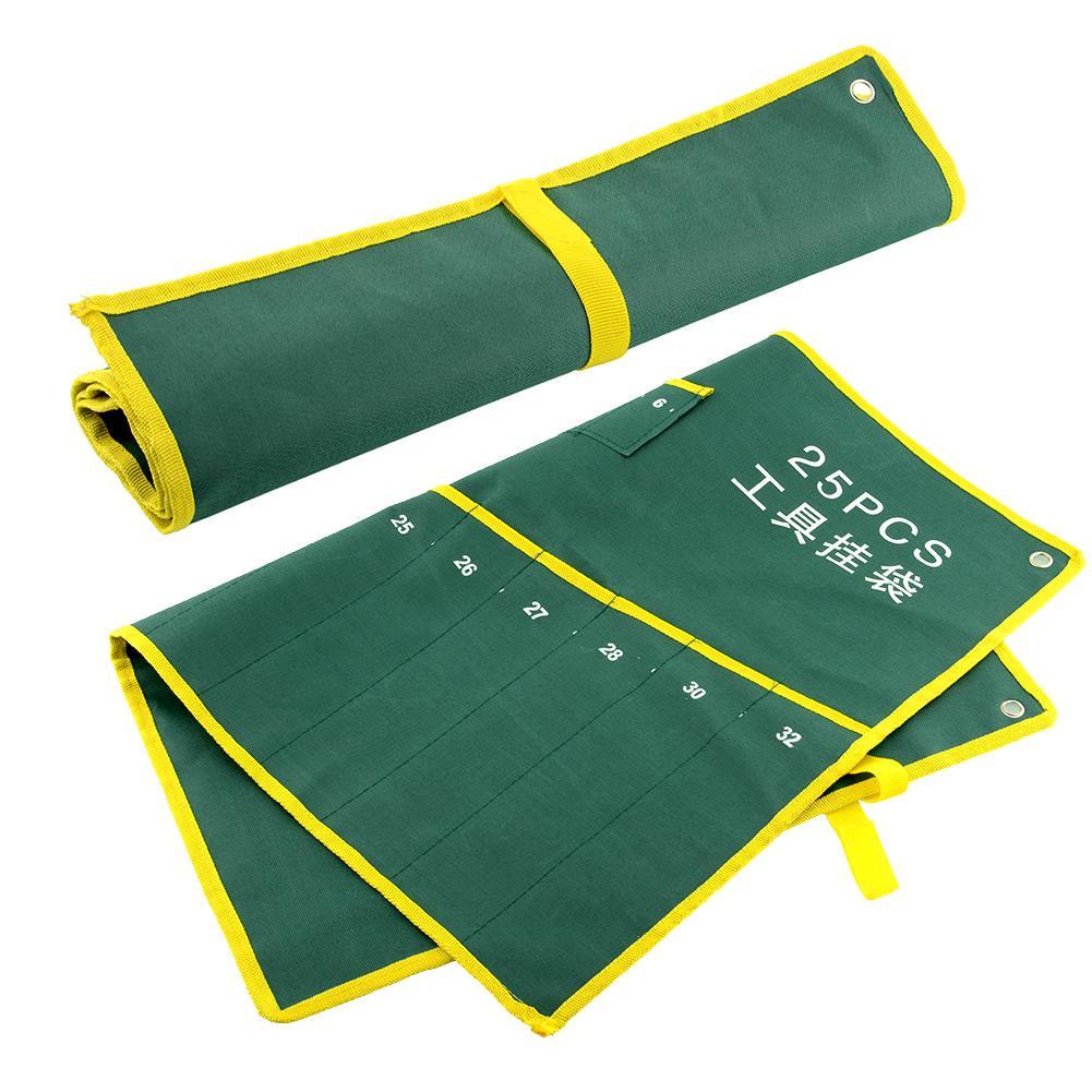 Ev ve Bahçe'ten Ev Ofis Depolama'de Durable 25 Pocket Grids Canvas Roll Spanner Wrench Tool Bag Case Hanging Suite title=