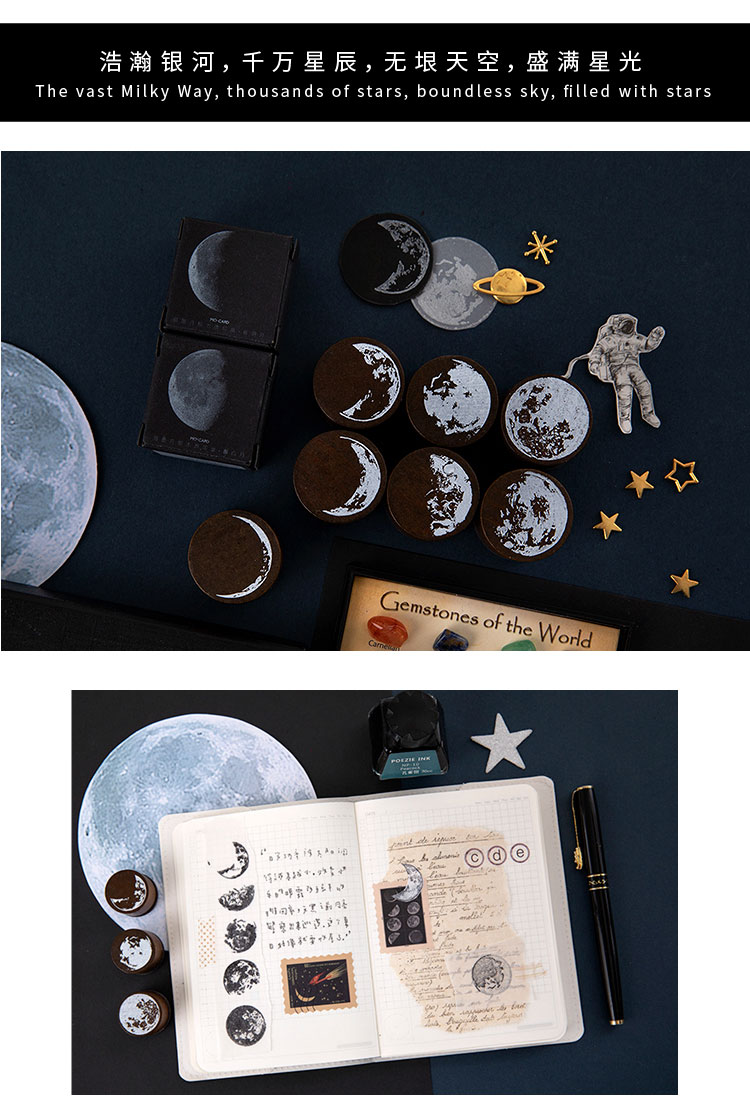 Винтажная фаза Луны деревянная печать планировщик деревянная резиновая печать набор для DIY Скрапбукинг Украшение для открыток тиснение ремесло