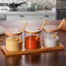 Juego de utensilios de vidrio para hierbas aromáticas, botella de vidrio para condimentos, sal de azúcar, tarro de almacenamiento, tarros de especias con cucharillas de madera, accesorios de cocina, 3 unidades