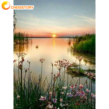 CHENISTORY Frame DIY Painting By Numbers Sunset Lake Modern Wall Art Picture By Number Acrylic Canvas By Numbers For Home Decors gatyztory frameless picture diy painting by numbers animals modern picture canvas by numbers for home wall art decors 40x50cm