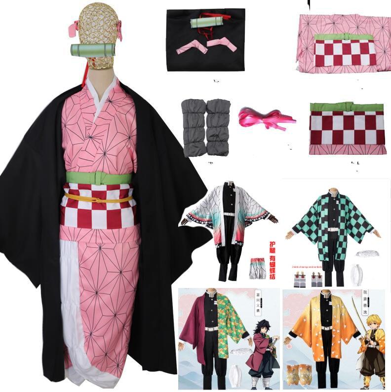 Full Set Demon Slayer Kimetsu No Yaiba Kamado Nezuko Cosplay Costume Kimono Wig Geta Shoes Headwear Japan Anime Halloween Dress