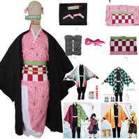 Set completo Demone Slayer Kimetsu no Yaiba Kamado Nezuko Cosplay del Costume Del Kimono parrucca Geta Scarpe Copricapi Del Anime del Giappone Vestito di Halloween