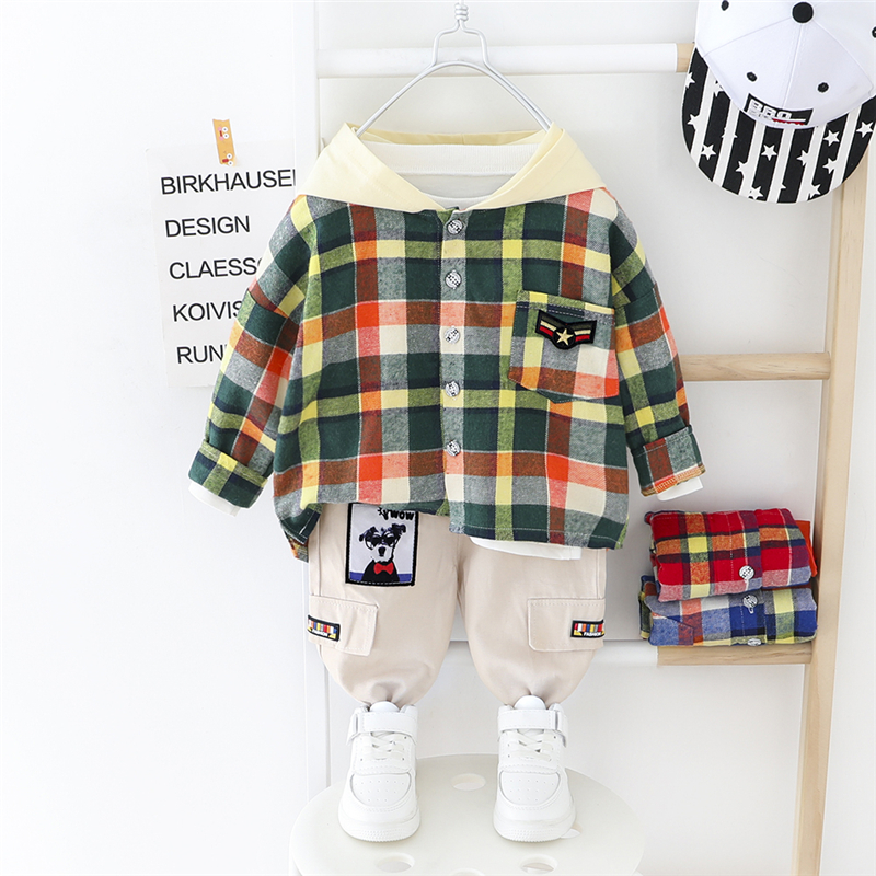 HYLKIDHUOSE 2020 Toddler Infant Clothing Sets Baby Boys Hooded Plaid Tops Pants 2 Pcs Sets Children Casual Vacation Clothes