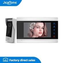 Видеодомофон JeaTone, цветной дверной звонок 7 дюймов, 1200TVL, разблокировка высоким разрешением, комплект домашней безопасности