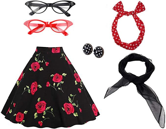Women's 50's Costume Accessories Set Vintage Dot Skirt Scarf Headband Earrings Cat Eye Glasses
