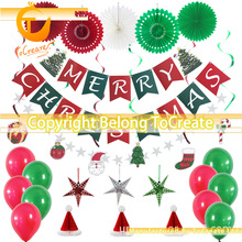 Christmas Party Decoration Set Christmas Letter Pull Flag Spiral Tag Hat zhe zhi shan Latex Balloon christmas village spiral style plush christmas hat red white
