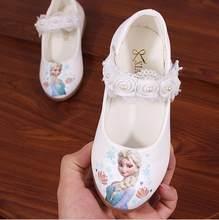 Disney novas crianças elsa sapatos casuais meninas congelados princesa macio dos desenhos animados sapatos de couro pérola das crianças dos desenhos animados