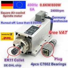цены DE ship Square 0.8KW 800W Air cooled Spindle motor ER11 6.5A 24000rpm 400Hz 220V for CNC Router ENGRAVING MILLING GRIND Machine