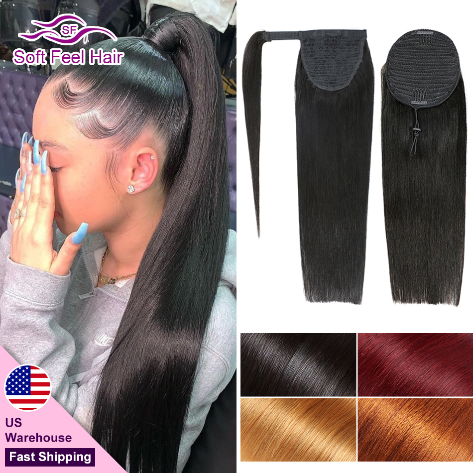 Wrap Around And Drawstring Ponytail Human Hair Soft Feel Hair Remy Clip In Hair Extensions Brazilian Straight Ponytail 4 Colors