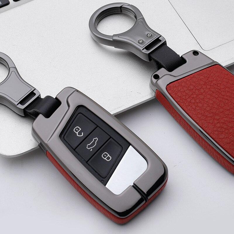 Hot Genuine Leather Car Key Remote Cover Case For Volkswagen VW Tiguan MK2 Magotan Passat B8 CC For Skoda Superb A7 2017 2018