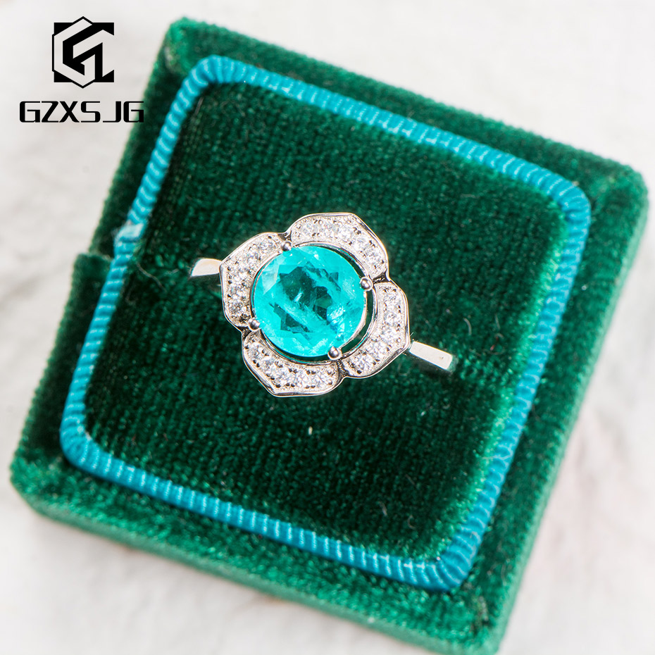 GZ Brazilian Paraiba Tourmaline Gemstone Ring For Women Solid 925 Sterling Silver Round 8.0 Blue Stone For Engagement Party Gift