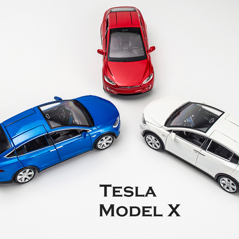 1:32 Alloy Car Model Tesla MODEL X Tesla Metal 3 Diecast Toy Vehicles Car With Pull Back Flashing Musical For Baby Gifts
