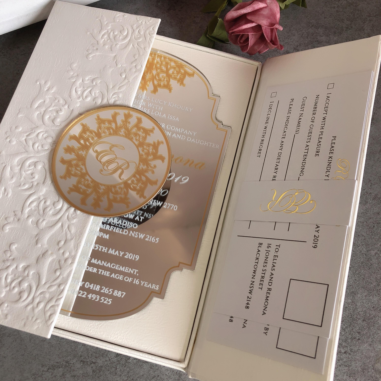 Amato 50 Personalized Custom Embossed Wedding invitation cards Luxury EL29