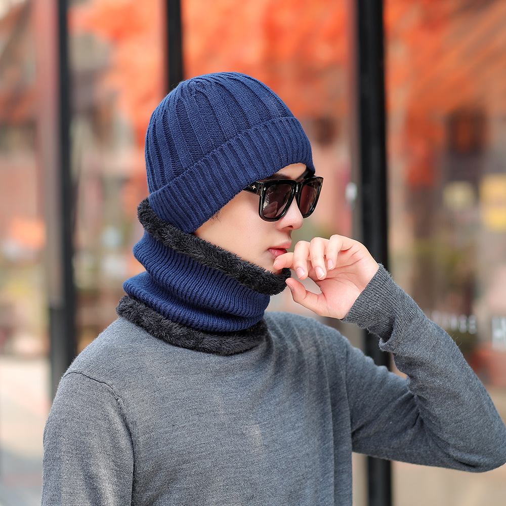 Winter Cold And Warm MEN'S Hat Korean-style Versatile Youth Cap Knitted Solid Color Set Of Head Cap Plus Velvet Scarf Set