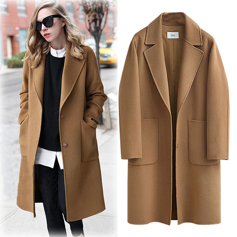 M-5XL Plus Size Women Autumn Winter Wool Blend Coat Loose Long Sleeve Turn-down Collar Windbreaker Elegant Lady   Trench   Overcoat