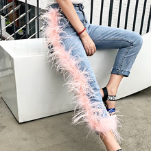 High Street Women's Jeans Broken Tassels Fur Patchwork Washt