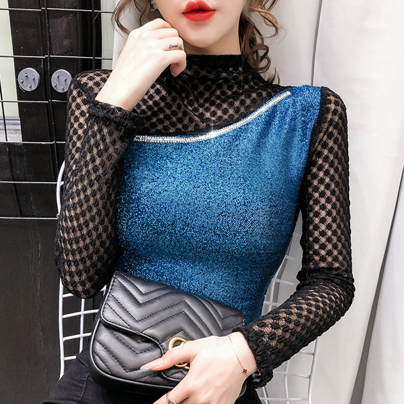 2020 Spring Summer European Clothes T-shirt Sexy Patchwork Lace Diamonds Women Tops Ropa Mujer Shiny Bottoming Shirt Tees T02309