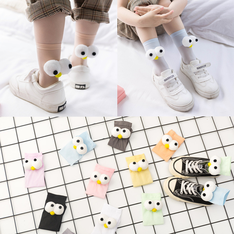 1 Pair Of Socks With Big Eyes Thin, Breathable, Solid Color, Front And Back, Personality Cute Cartoon Straight Parent-Child Sock