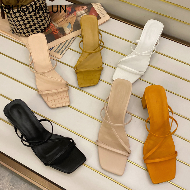 SUOJIALUN Women Summer Outdoor Sandal High Square Heel Flip Flop Ladies Brand Women Slipper Elegant Women Slides Shoes