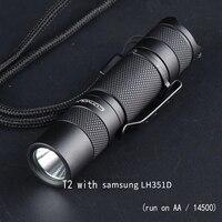 Convoy-Linterna portátil T2 con batería AA/14500, minilinterna con luz LED LH351D de Samsung