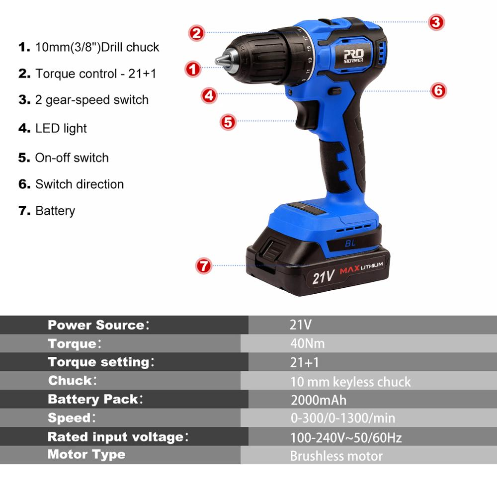 By Brushless Battery Screwdriver 2 5pcs Drill Tools Cordless Driver Power Bits 40NM Mini Household 0Ah 21V Electric PROSTORMER