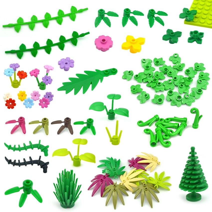 Завод дерево узором из цветов и листьев, Мпц запчасти DIY строительные блоки, игрушки для детей, создатель города кирпичи 30176 3741 32607 совместим ...