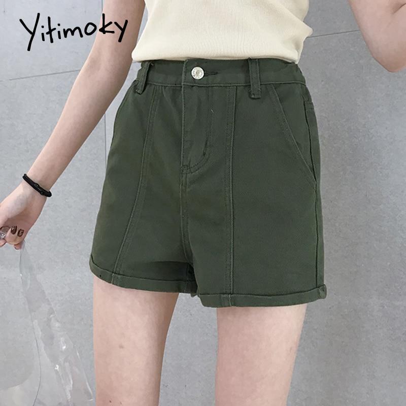 Denim Shorts Women Army Green Women Short Jeans Khaki Slim Elastic Waist Vintage High Waist Shorts Women Summer 2020 Streetwear