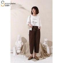 Pantalones de algodón con cintura elástica para mujer, ropa Vintage holgada, con cintura elástica, dobladillo, para primavera y verano, 2021