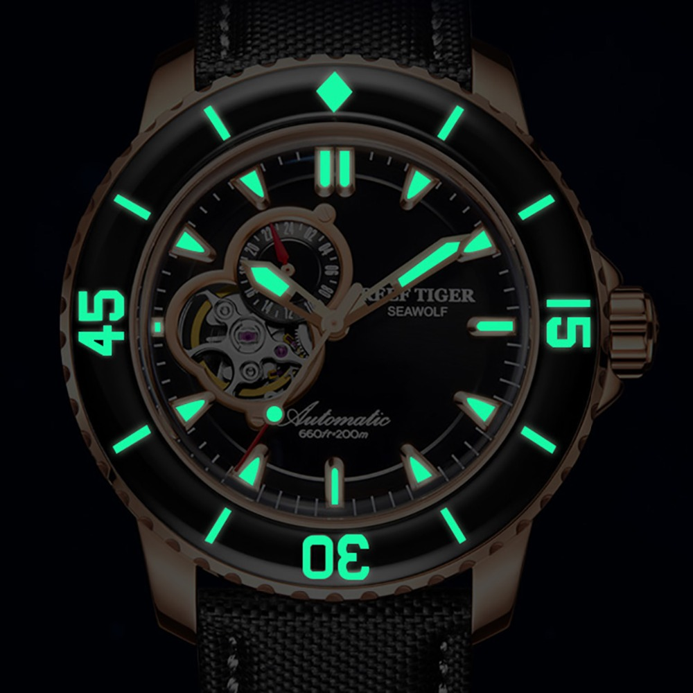 Reef Tiger/RT Top Brand Watch For Men Sport Automatic Watches Rose Gold Super Luminous Diving Watch Nylon Strap RGA3039 4