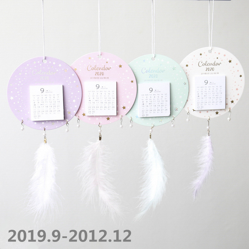 2020 Creative Dream Catcher Shape Calendar DIY Mini Feather Wall Calendars Daily Schedule Planner