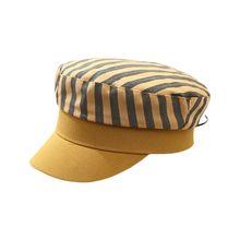 Korean Harajuku Flat Top Beret Cap Women Girls Contrast Color Stripes Print Sun Protection Newsboy Cabbie Painter Visor Navy Hat