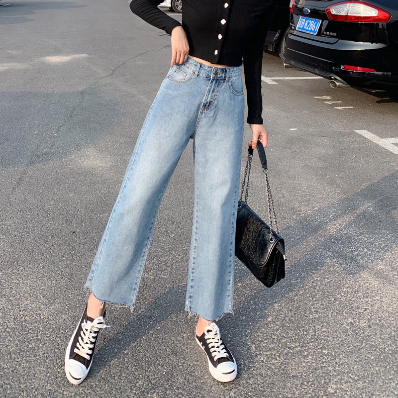2019 Autumn New Style High-waisted Wide-Leg Capri Jeans Women's Loose Straight Cut Feet Denim (Ankle-length Pants)