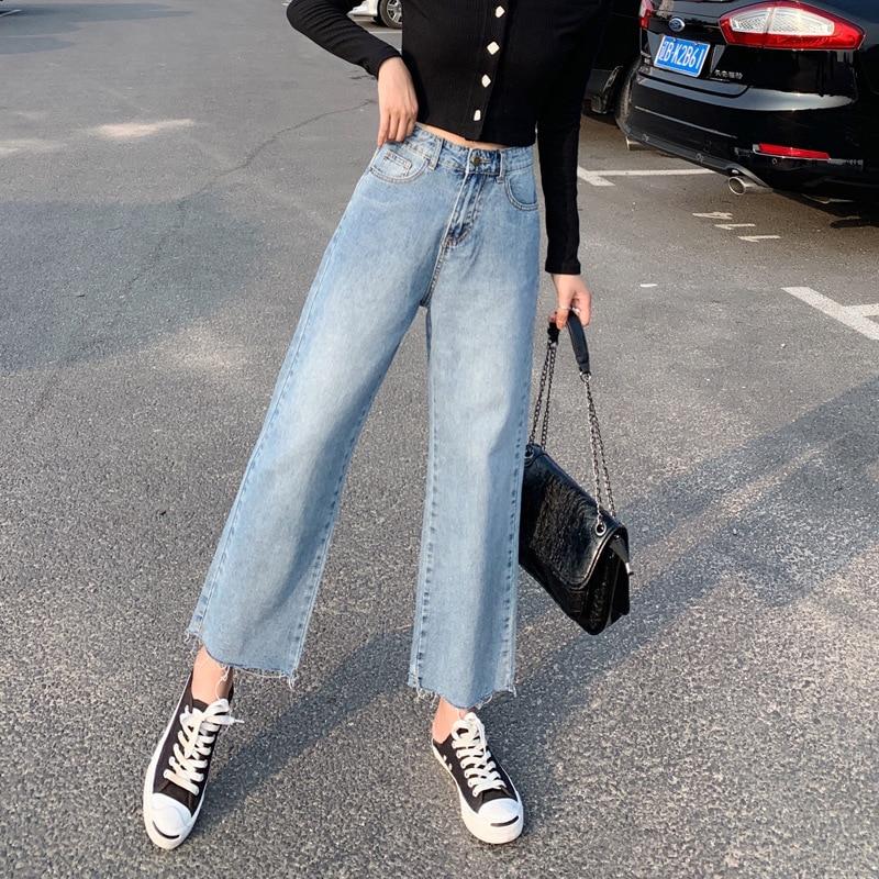 2019 Autumn New Style High-waisted Wide-Leg Capri Jeans Women's Loose Straight Cut Feet Denim (Ankle-length Pants)