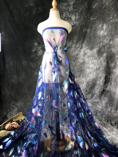 Plume repassage coloré illusion dégradé net tulle maille chinois vêtements tissu concepteur 2020 nouveau tissu de dentelle 3 mètres