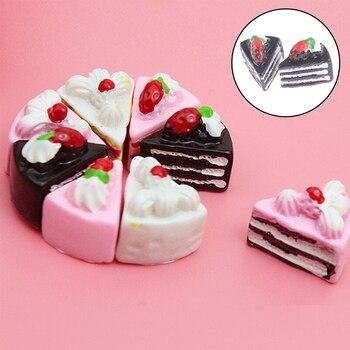10/2PCS 귀여운 Kawaii 플랫 다시 DIY 미니어처 인공 가짜 음식 케이크 수지 카보 숑 장식 공예 놀이 인형 집 장난감