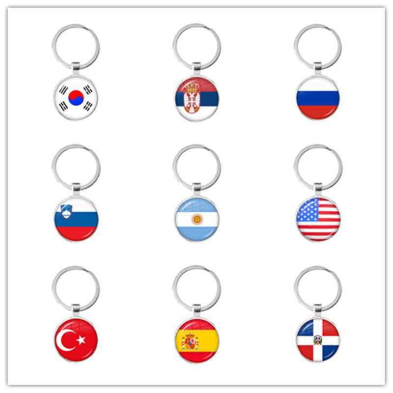 Quốc Kỳ Vòng Móc Khóa Hàn Quốc, Serbia, Slovenia, Argentina, Hoa Kỳ, Thổ Nhĩ Kỳ tây Ban Nha, Dominica Móc Khóa Quà Tặng